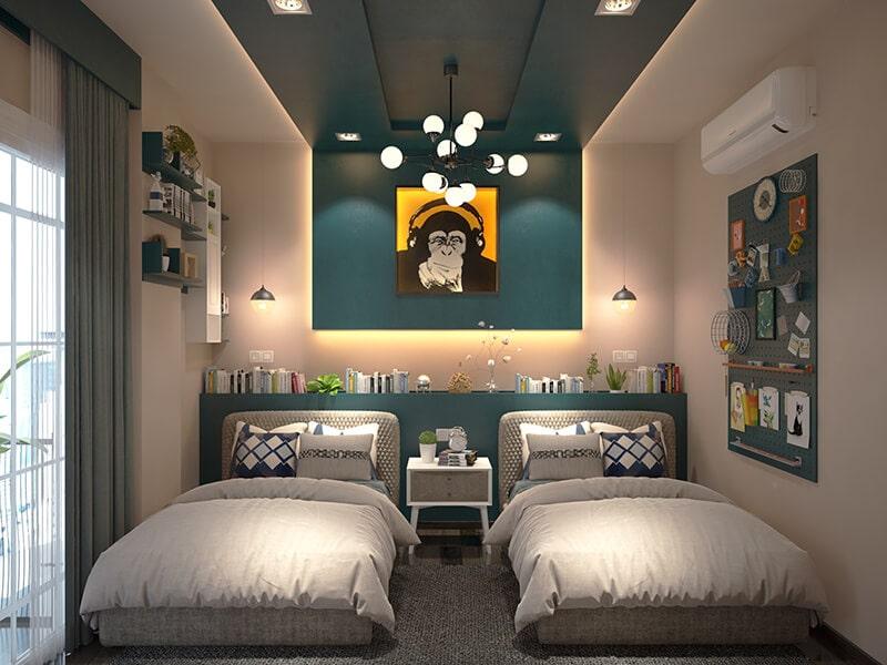 kê 2 giường trong phòng ngủ