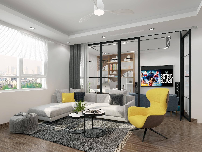 thiết kế nội thát chung cư 2 phòng ngủ